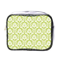 White On Spring Green Damask Mini Travel Toiletry Bag (one Side)