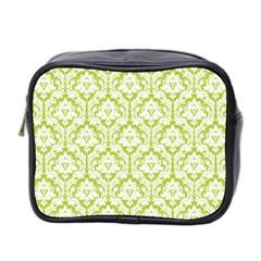 Spring Green Damask Pattern Mini Toiletries Bag (two Sides)