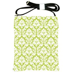 Spring Green Damask Pattern Shoulder Sling Bag
