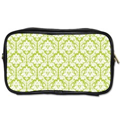 White On Spring Green Damask Travel Toiletry Bag (one Side)