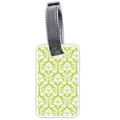 White On Spring Green Damask Luggage Tag (Two Sides)