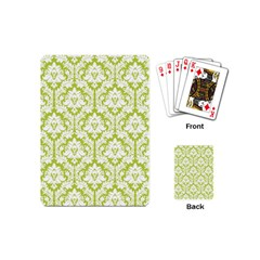 White On Spring Green Damask Playing Cards (Mini)