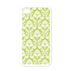 White On Spring Green Damask Apple Iphone 4 Case (white)