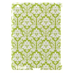 White On Spring Green Damask Apple iPad 3/4 Hardshell Case (Compatible with Smart Cover)