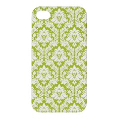 White On Spring Green Damask Apple iPhone 4/4S Premium Hardshell Case