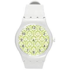 White On Spring Green Damask Plastic Sport Watch (medium)