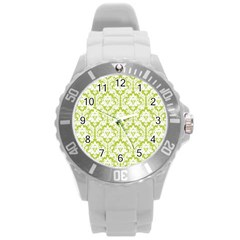 White On Spring Green Damask Plastic Sport Watch (Large)
