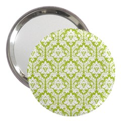 White On Spring Green Damask 3  Handbag Mirror