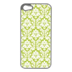 White On Spring Green Damask Apple Iphone 5 Case (silver)