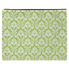 Spring Green Damask Pattern Cosmetic Bag (xxxl)