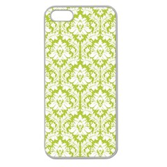 White On Spring Green Damask Apple Seamless iPhone 5 Case (Clear)