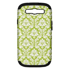 White On Spring Green Damask Samsung Galaxy S Iii Hardshell Case (pc+silicone)