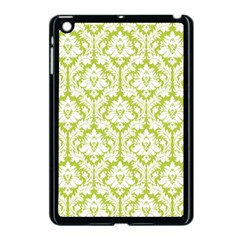 White On Spring Green Damask Apple Ipad Mini Case (black)