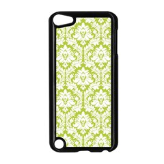 White On Spring Green Damask Apple iPod Touch 5 Case (Black)