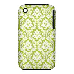 White On Spring Green Damask Apple iPhone 3G/3GS Hardshell Case (PC+Silicone)