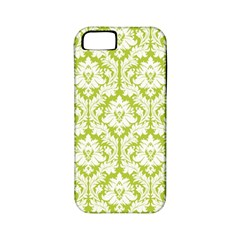 White On Spring Green Damask Apple Iphone 5 Classic Hardshell Case (pc+silicone)