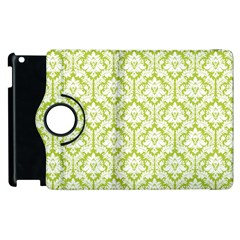 White On Spring Green Damask Apple Ipad 3/4 Flip 360 Case