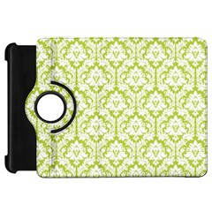 White On Spring Green Damask Kindle Fire Hd 7  (1st Gen) Flip 360 Case