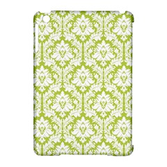 White On Spring Green Damask Apple iPad Mini Hardshell Case (Compatible with Smart Cover)