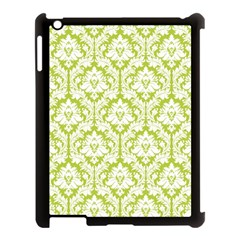 White On Spring Green Damask Apple Ipad 3/4 Case (black)