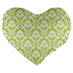 Spring Green Damask Pattern Large 19  Premium Heart Shape Cushion
