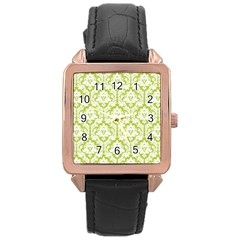 White On Spring Green Damask Rose Gold Leather Watch
