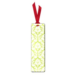 White On Spring Green Damask Small Bookmark
