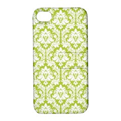 White On Spring Green Damask Apple iPhone 4/4S Hardshell Case with Stand