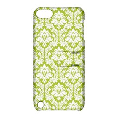 White On Spring Green Damask Apple iPod Touch 5 Hardshell Case with Stand