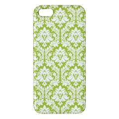 White On Spring Green Damask Apple Iphone 5 Premium Hardshell Case