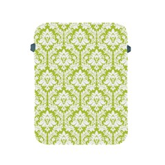 White On Spring Green Damask Apple Ipad Protective Sleeve