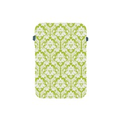 White On Spring Green Damask Apple iPad Mini Protective Sleeve