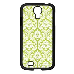 White On Spring Green Damask Samsung Galaxy S4 I9500/ I9505 Case (Black)