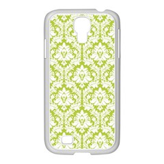 White On Spring Green Damask Samsung Galaxy S4 I9500/ I9505 Case (white)