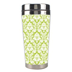 White On Spring Green Damask Stainless Steel Travel Tumbler