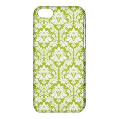White On Spring Green Damask Apple iPhone 5C Hardshell Case