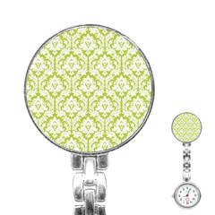 White On Spring Green Damask Stainless Steel Nurses Watch