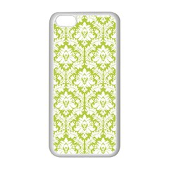White On Spring Green Damask Apple iPhone 5C Seamless Case (White)