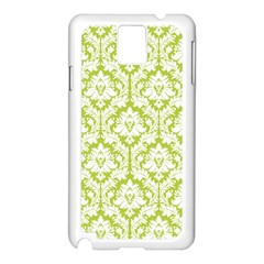 White On Spring Green Damask Samsung Galaxy Note 3 N9005 Case (White)