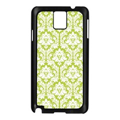 White On Spring Green Damask Samsung Galaxy Note 3 N9005 Case (Black)