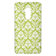 White On Spring Green Damask HTC One Max (T6) Hardshell Case