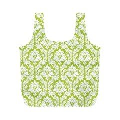 Spring Green Damask Pattern Full Print Recycle Bag (M)