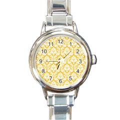 White On Sunny Yellow Damask Round Italian Charm Watch