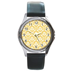 White On Sunny Yellow Damask Round Leather Watch (Silver Rim)