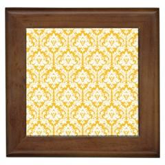 White On Sunny Yellow Damask Framed Ceramic Tile