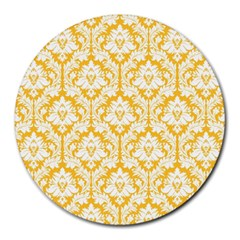 White On Sunny Yellow Damask 8  Mouse Pad (Round)