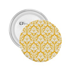 White On Sunny Yellow Damask 2.25  Button