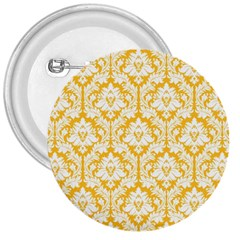 White On Sunny Yellow Damask 3  Button