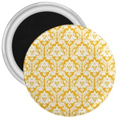 White On Sunny Yellow Damask 3  Button Magnet
