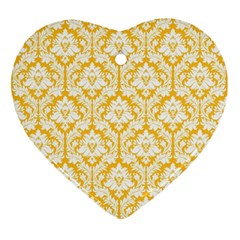White On Sunny Yellow Damask Heart Ornament